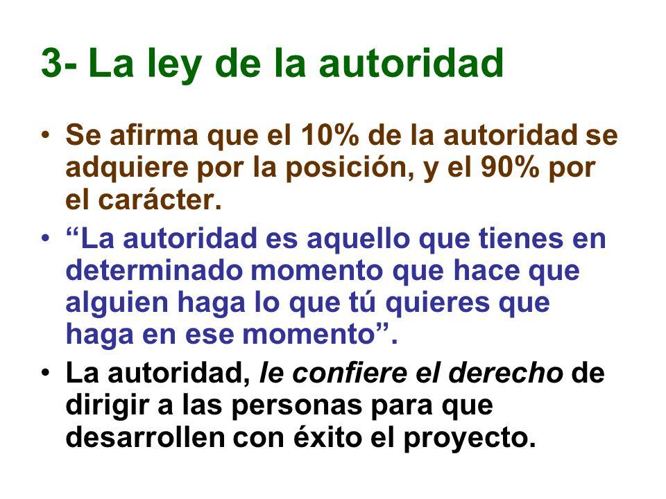 3- La ley de la autoridad Se afirma que el 10% de la autoridad se adquiere por la posición, y el 90% por el carácter.
