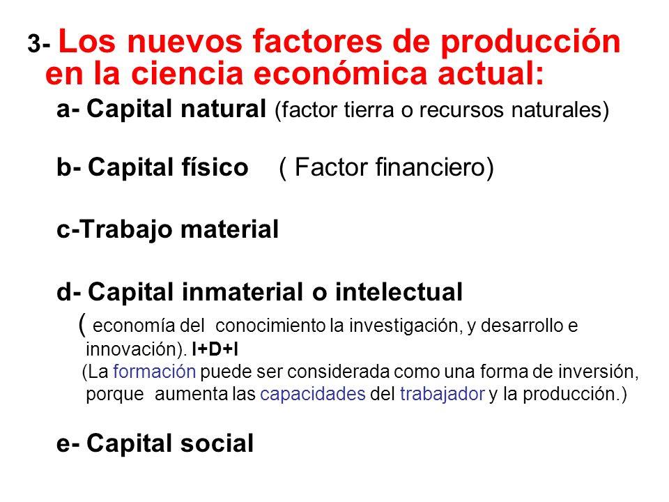 3- Los nuevos factores de producción en la ciencia económica actual: