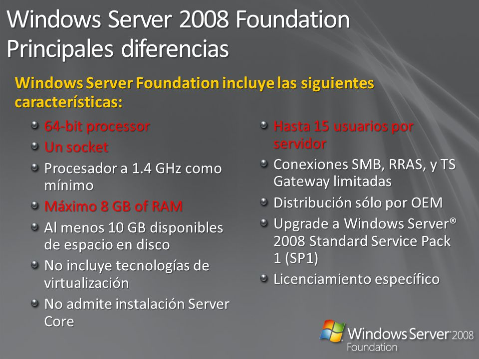 Windows Server 2008 Foundation Principales diferencias