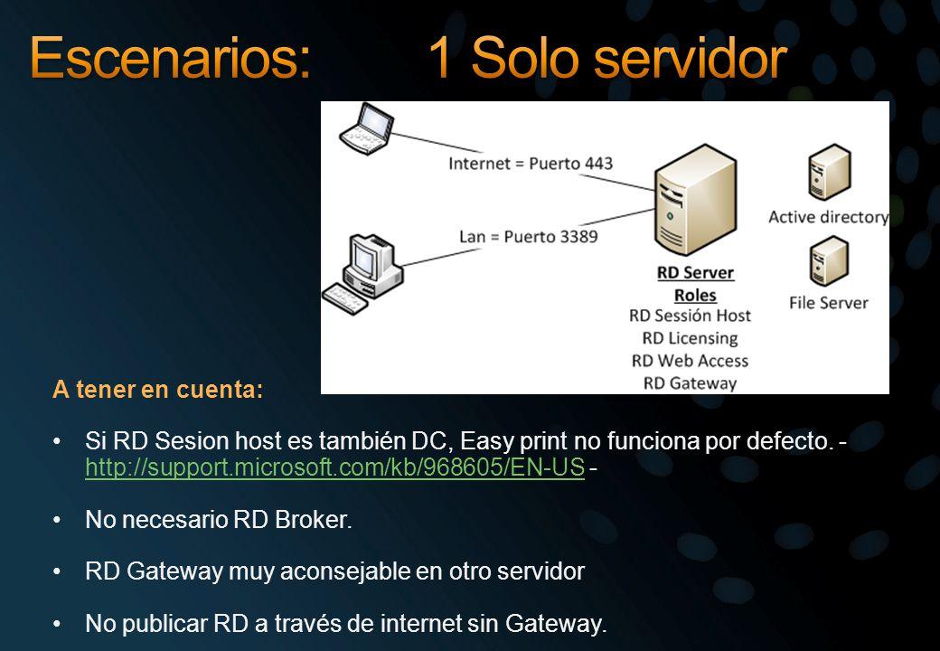 Escenarios: 1 Solo servidor