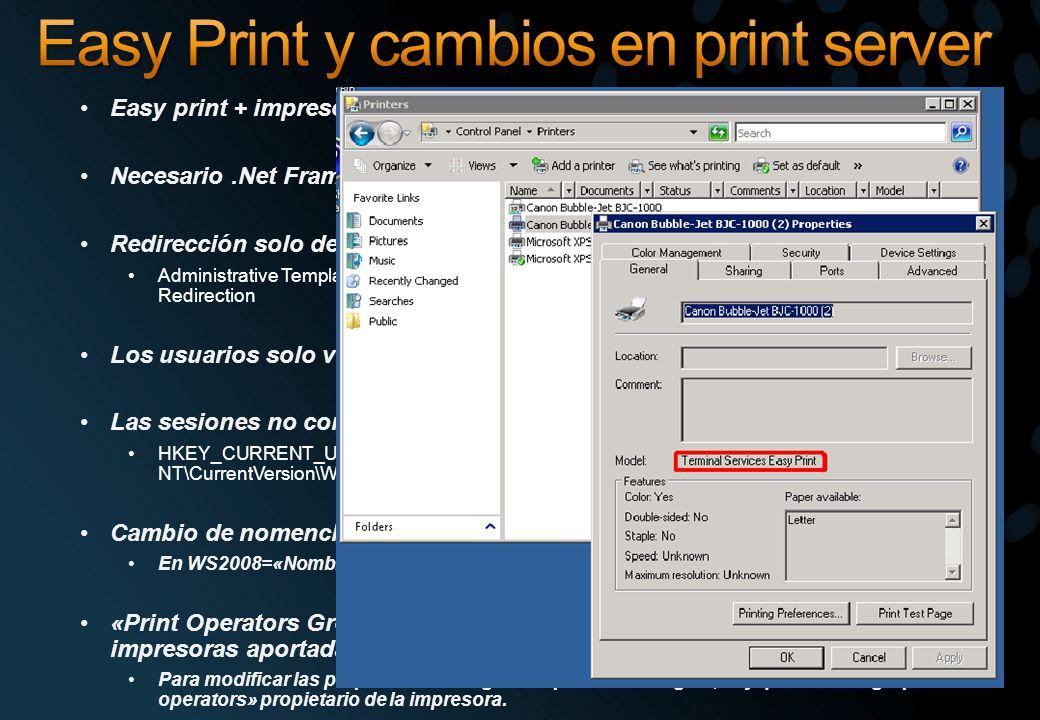 Easy Print y cambios en print server