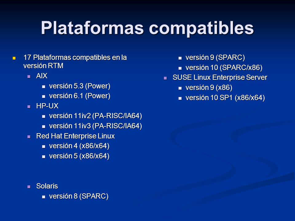 Plataformas compatibles