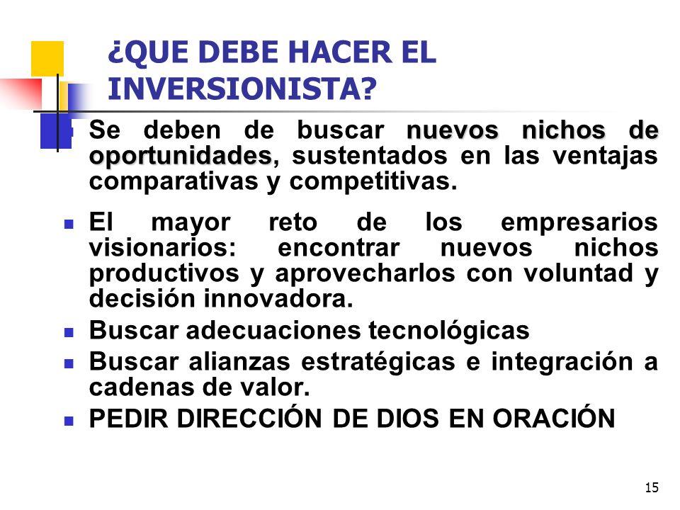 ¿QUE DEBE HACER EL INVERSIONISTA
