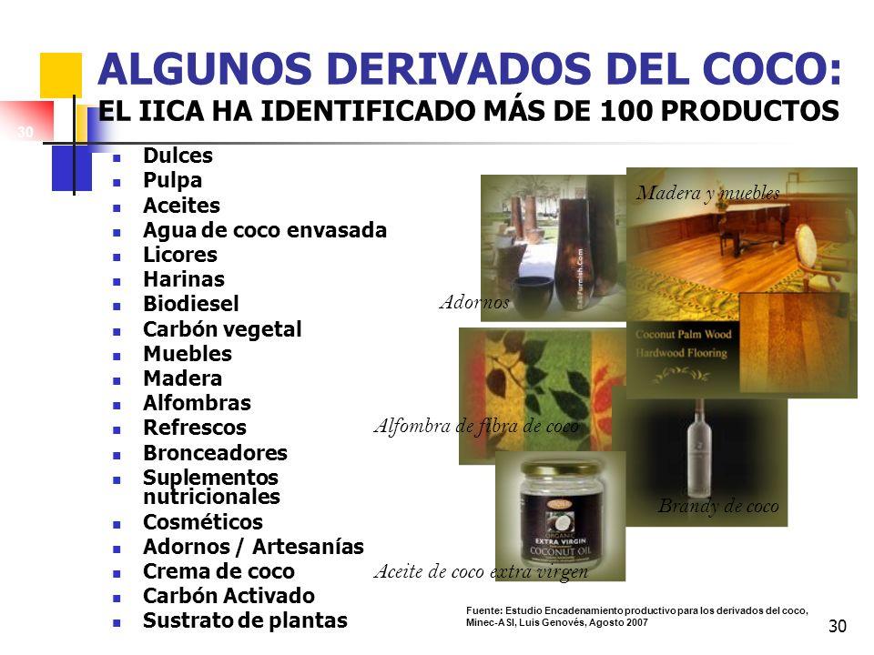 Algunos derivados del coco: El IICA ha identificado más de 100 productos