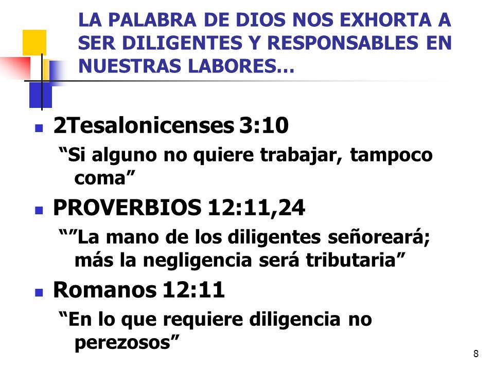 2Tesalonicenses 3:10 PROVERBIOS 12:11,24 Romanos 12:11