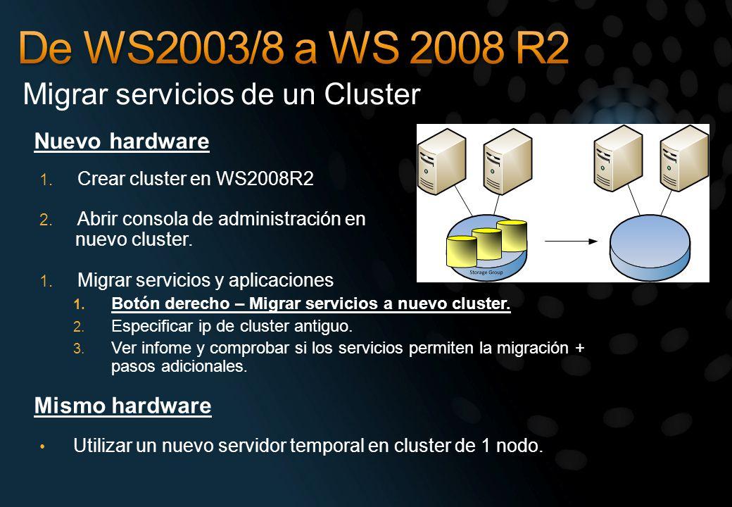 De WS2003/8 a WS 2008 R2 Migrar servicios de un Cluster Nuevo hardware