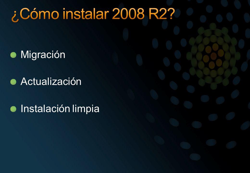 ¿Cómo instalar 2008 R2 Migración Actualización Instalación limpia