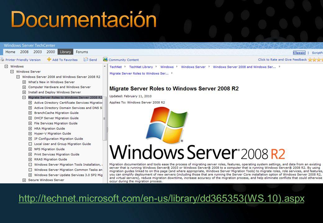 Documentación http://technet.microsoft.com/en-us/library/dd365353(WS.10).aspx