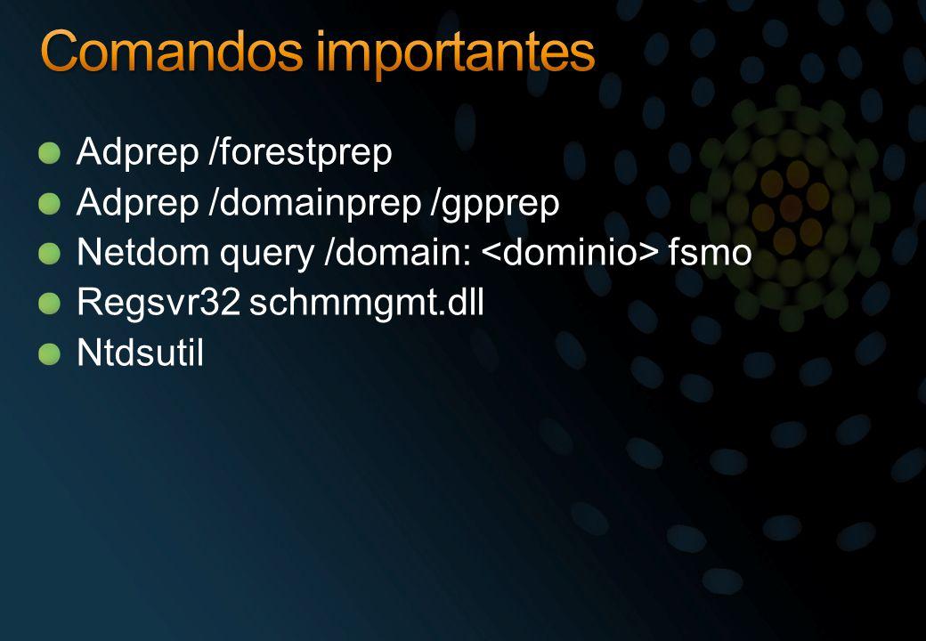 Comandos importantes Adprep /forestprep Adprep /domainprep /gpprep