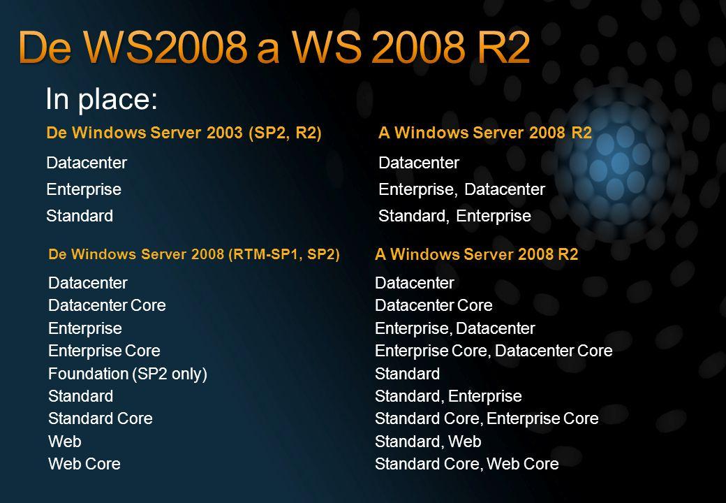 De WS2008 a WS 2008 R2 In place: De Windows Server 2003 (SP2, R2)