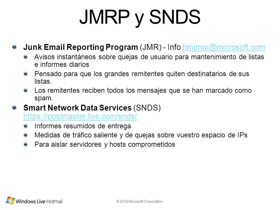 JMRP y SNDS Junk Email Reporting Program (JMR) - Info hmjmrx@microsoft.com.