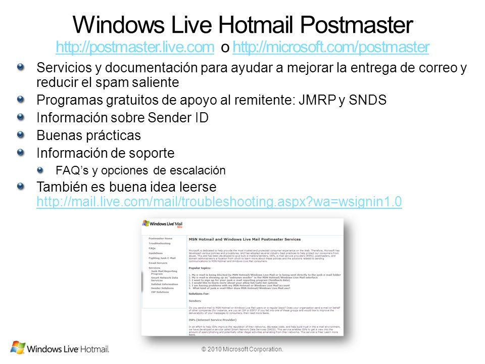 Windows Live Hotmail Postmaster http://postmaster. live