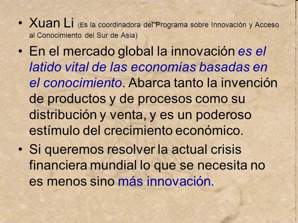 Xuan Li (Es la coordinadora del Programa sobre Innovación y Acceso al Conocimiento del Sur de Asia)