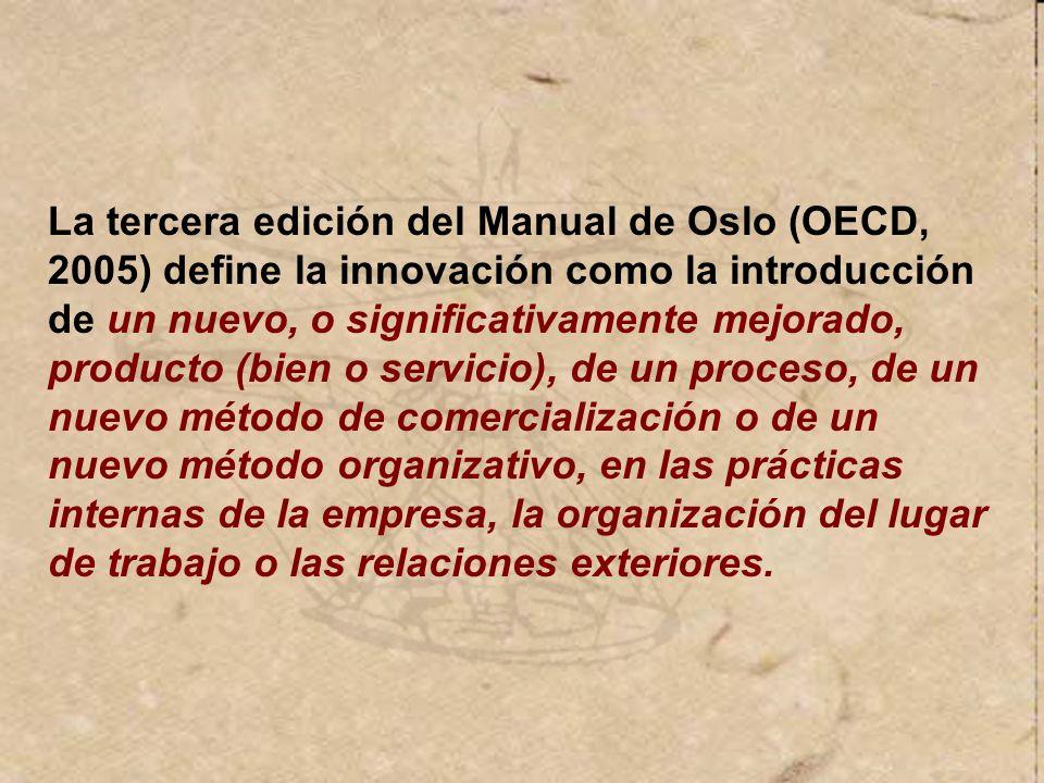 La tercera edición del Manual de Oslo (OECD, 2005) define la innovación como la introducción de un nuevo, o significativamente mejorado, producto (bien o servicio), de un proceso, de un nuevo método de comercialización o de un nuevo método organizativo, en las prácticas internas de la empresa, la organización del lugar de trabajo o las relaciones exteriores.