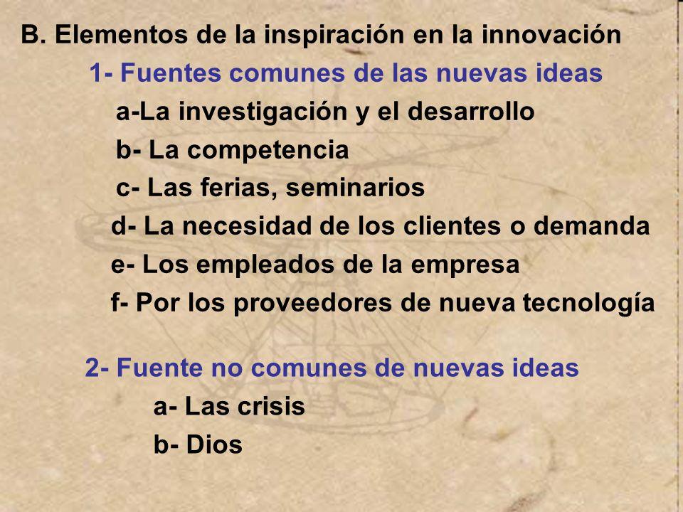 B. Elementos de la inspiración en la innovación