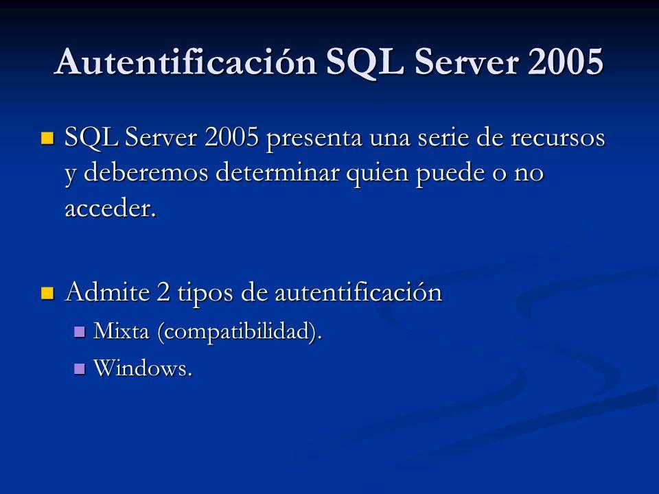 Autentificación SQL Server 2005