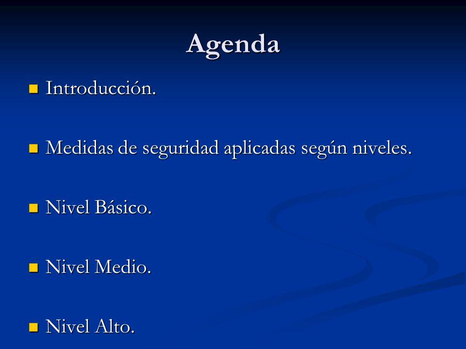 Agenda Introducción. Medidas de seguridad aplicadas según niveles.