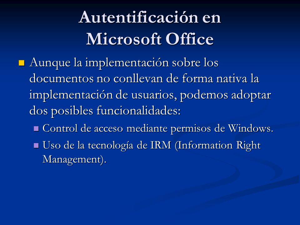 Autentificación en Microsoft Office