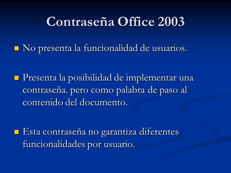 Contraseña Office 2003 No presenta la funcionalidad de usuarios.