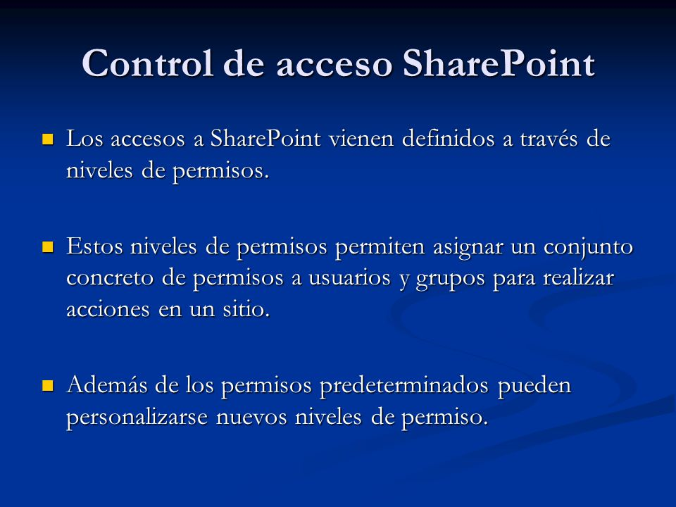 Control de acceso SharePoint