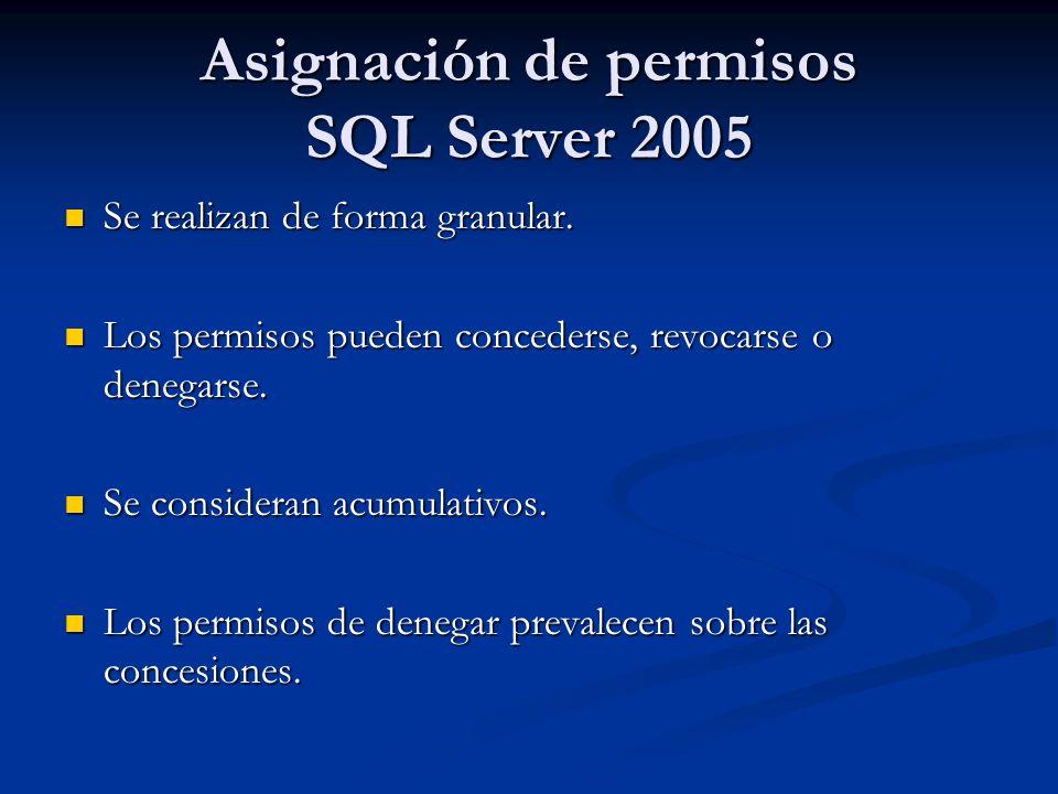 Asignación de permisos SQL Server 2005