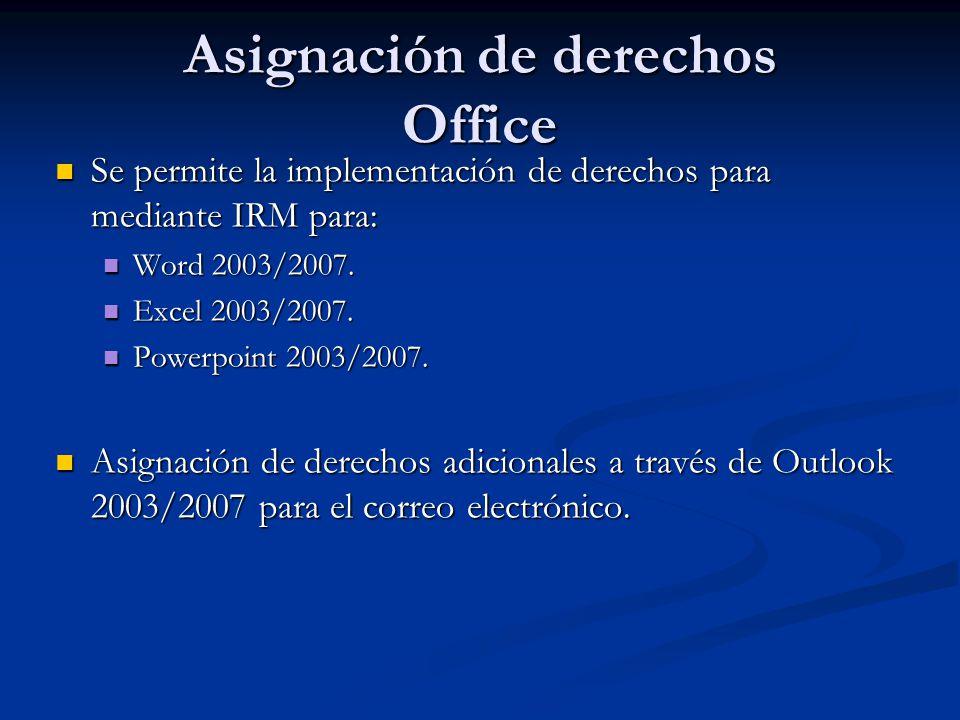 Asignación de derechos Office