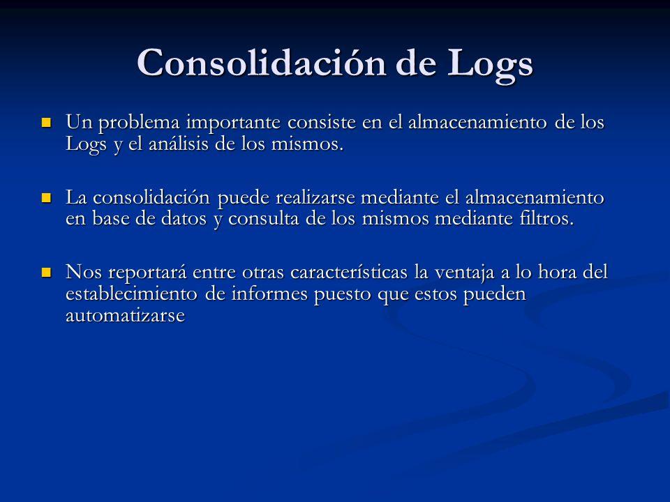 Consolidación de Logs Un problema importante consiste en el almacenamiento de los Logs y el análisis de los mismos.
