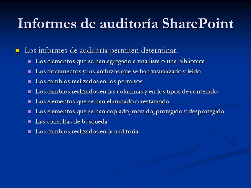 Informes de auditoría SharePoint