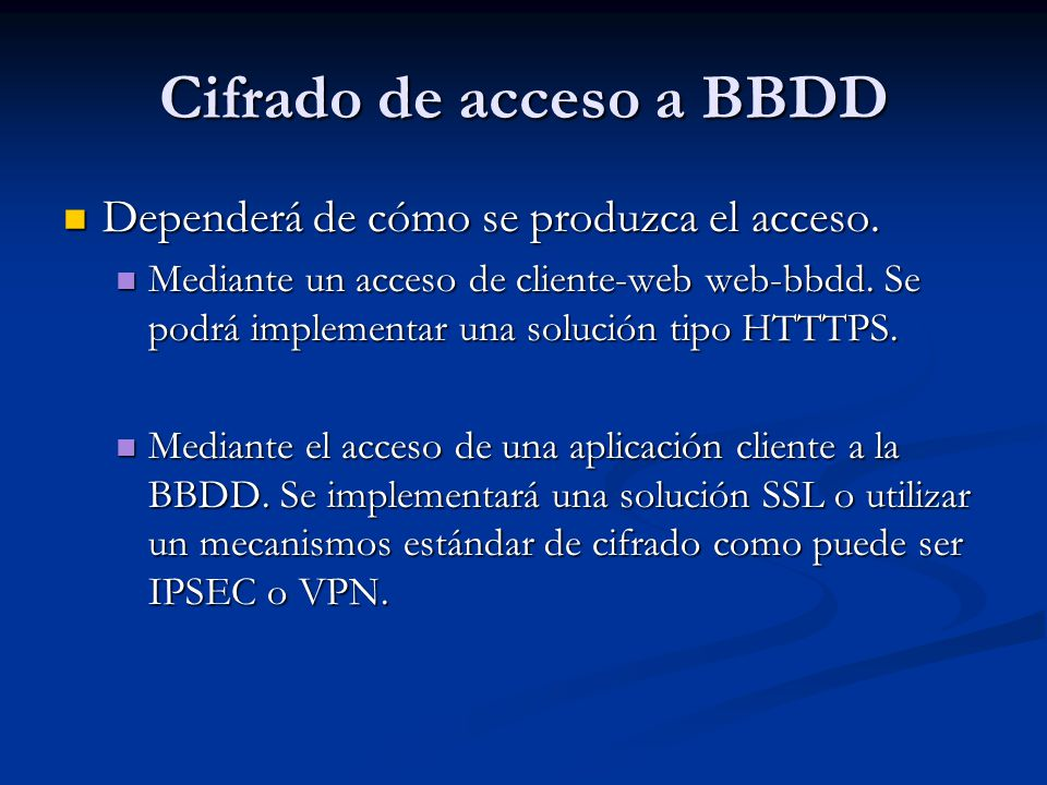 Cifrado de acceso a BBDD