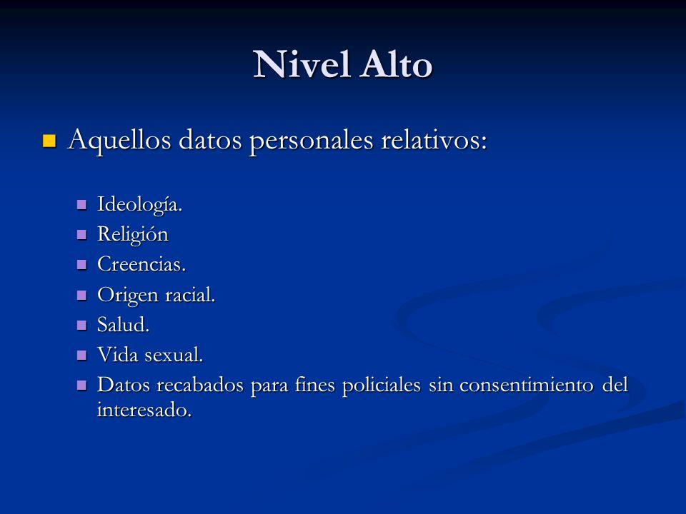 Nivel Alto Aquellos datos personales relativos: Ideología. Religión