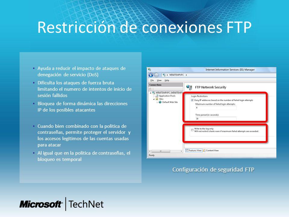 Restricción de conexiones FTP