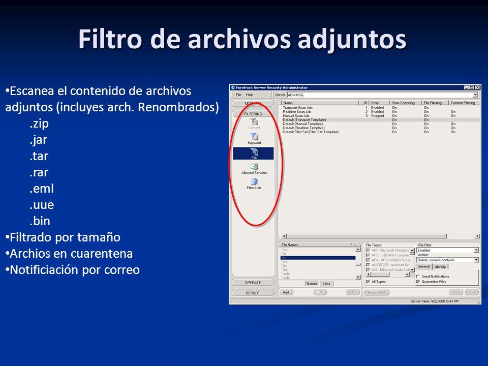 Filtro de archivos adjuntos