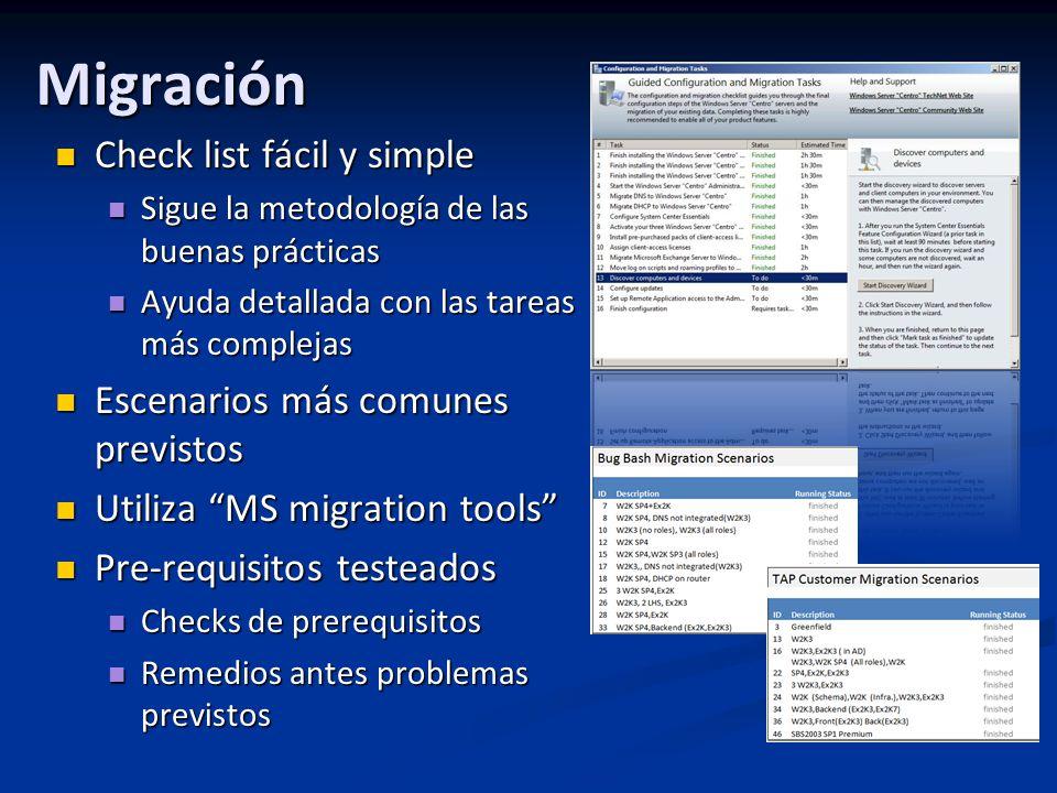 Migración Check list fácil y simple Escenarios más comunes previstos
