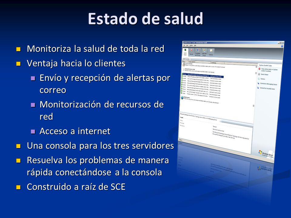 Estado de salud Monitoriza la salud de toda la red