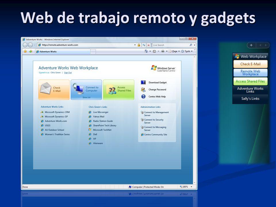 Web de trabajo remoto y gadgets