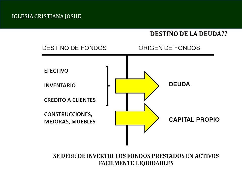 DESTINO DE LA DEUDA DESTINO DE FONDOS ORIGEN DE FONDOS EFECTIVO