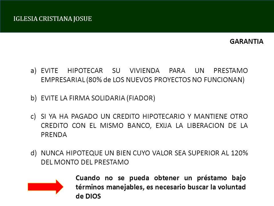 GARANTIA EVITE HIPOTECAR SU VIVIENDA PARA UN PRESTAMO EMPRESARIAL (80% de LOS NUEVOS PROYECTOS NO FUNCIONAN)
