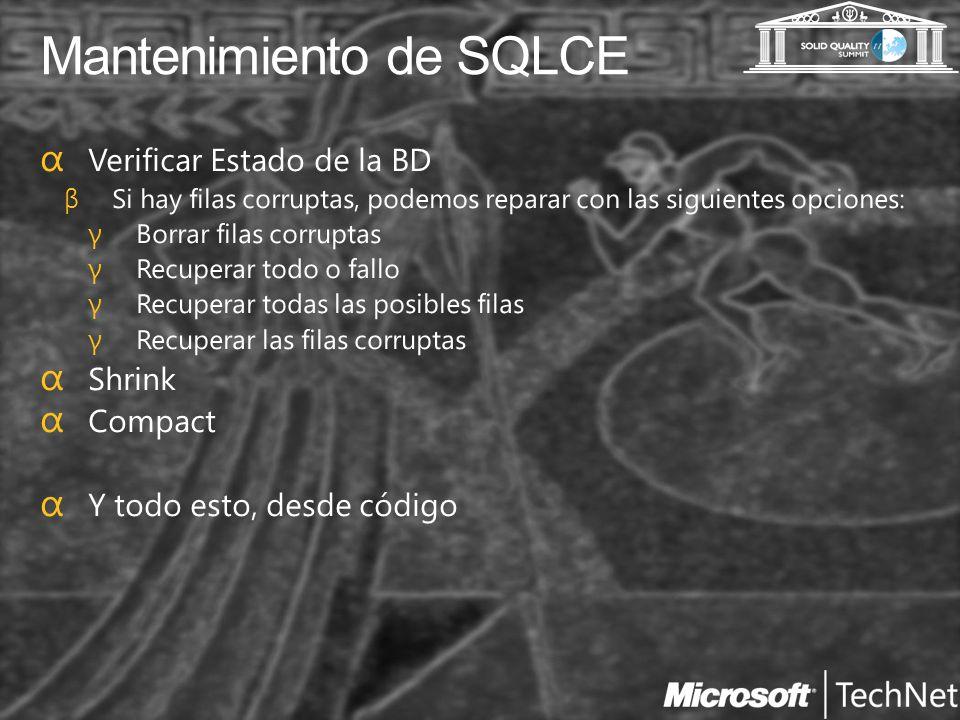 Mantenimiento de SQLCE