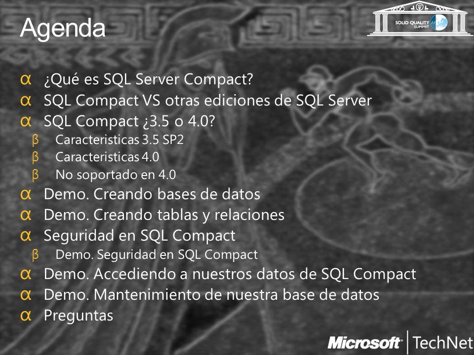 Agenda ¿Qué es SQL Server Compact