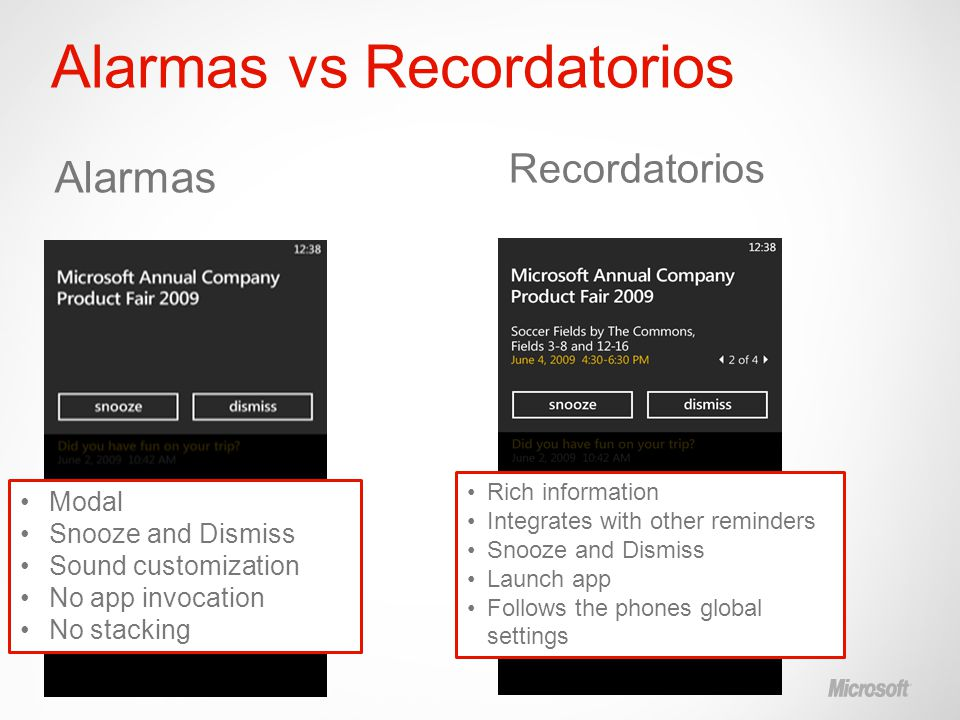 Alarmas vs Recordatorios