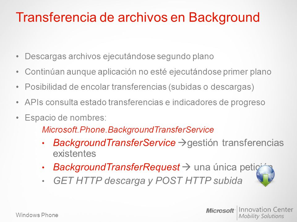 Transferencia de archivos en Background
