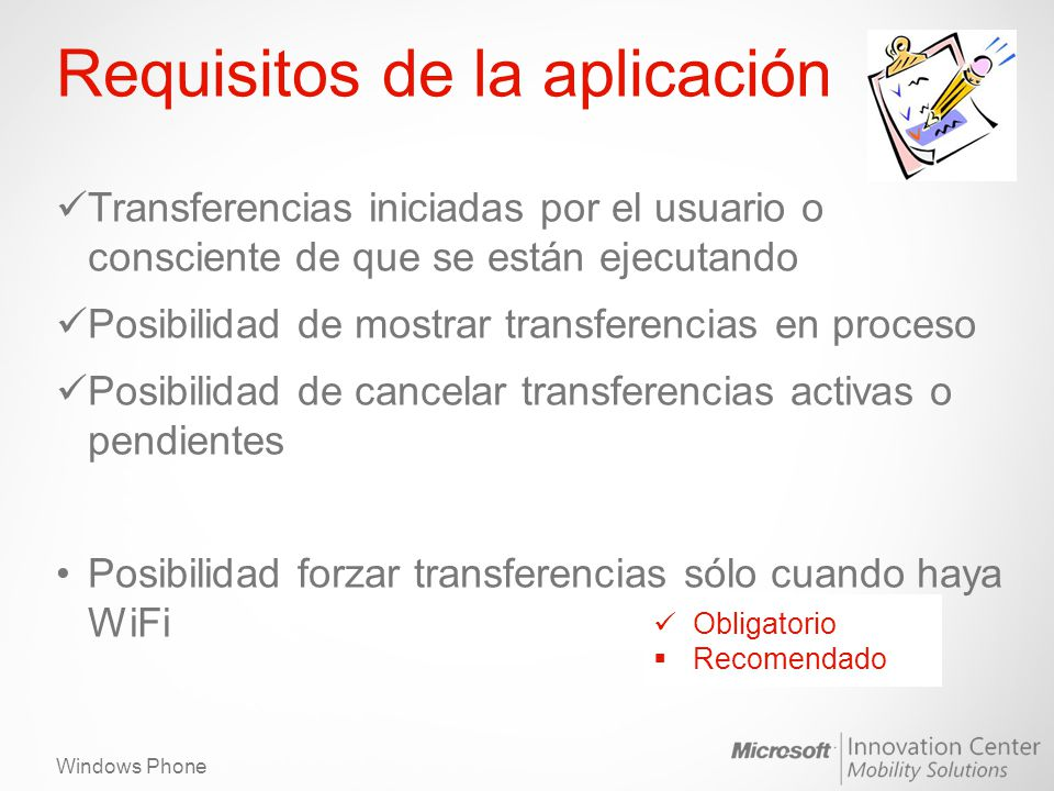 Requisitos de la aplicación