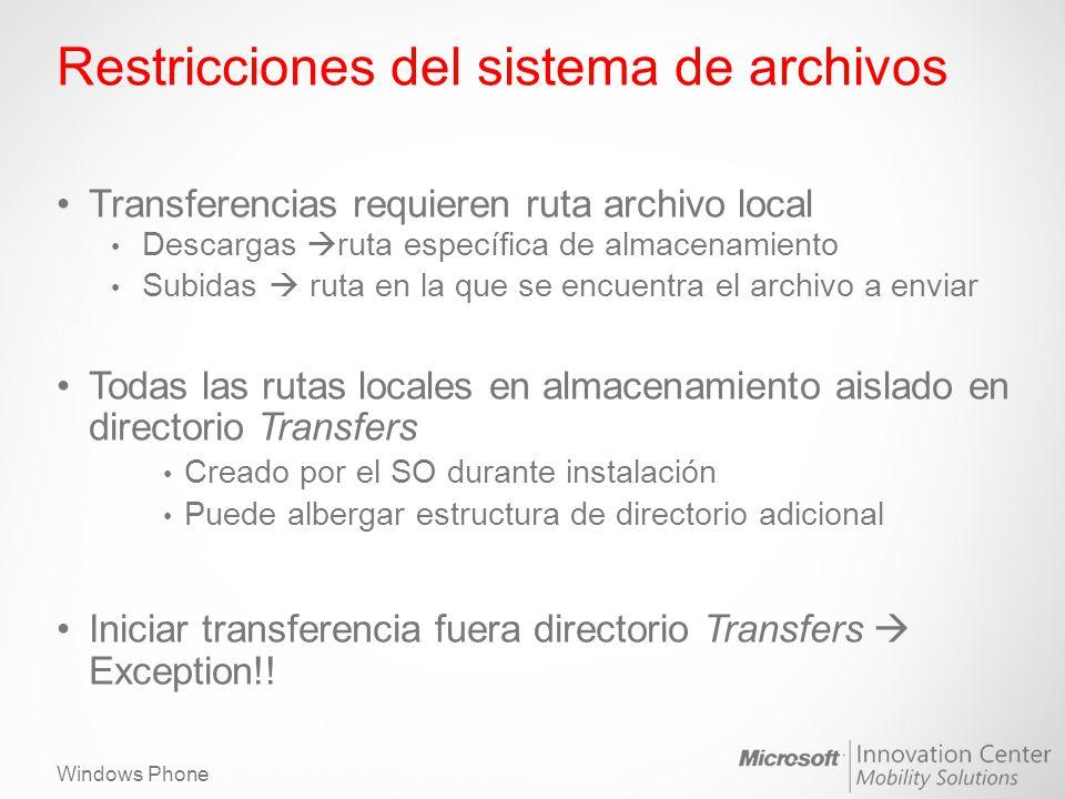 Restricciones del sistema de archivos