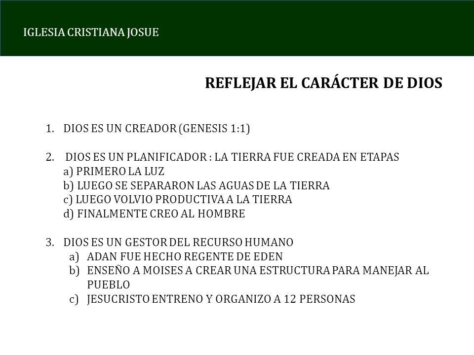 REFLEJAR EL CARÁCTER DE DIOS