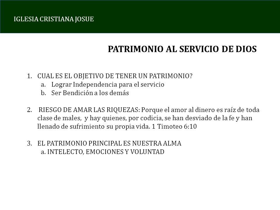 PATRIMONIO AL SERVICIO DE DIOS