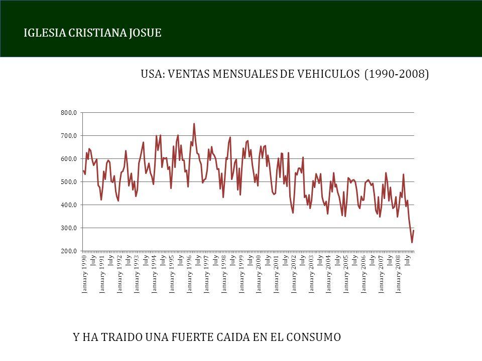 USA: VENTAS MENSUALES DE VEHICULOS (1990-2008)