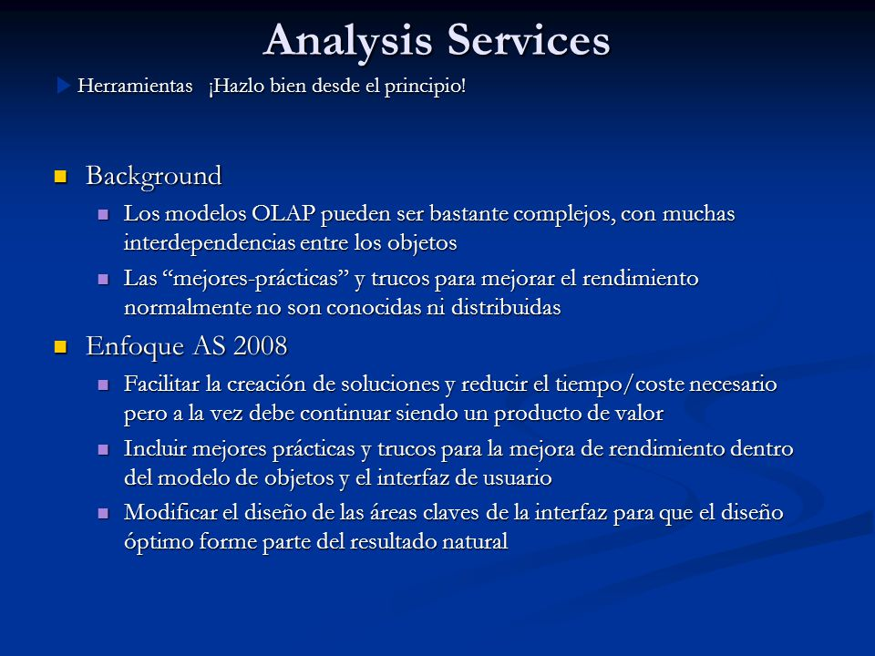 Analysis Services Background Enfoque AS 2008