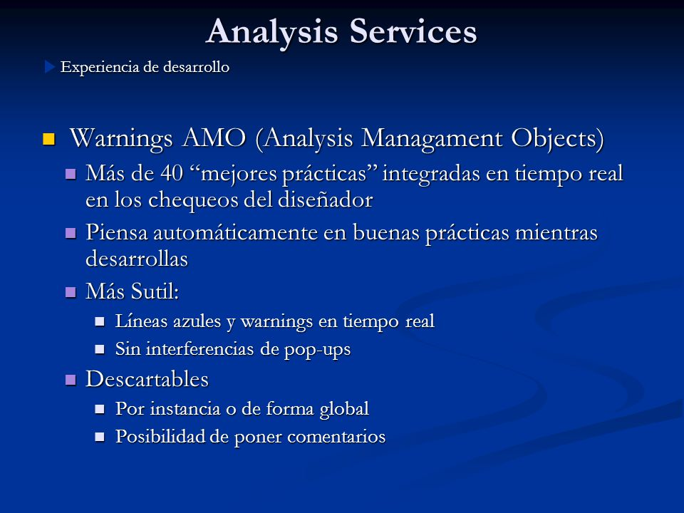 Analysis Services Warnings AMO (Analysis Managament Objects)