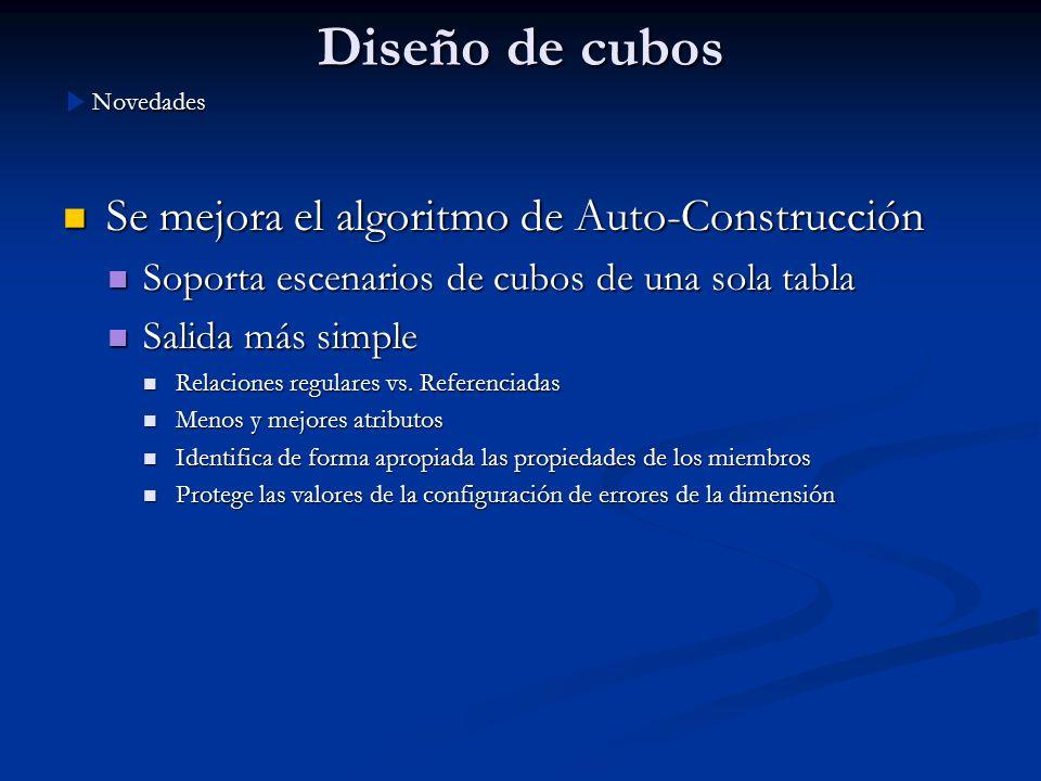 Diseño de cubos Se mejora el algoritmo de Auto-Construcción