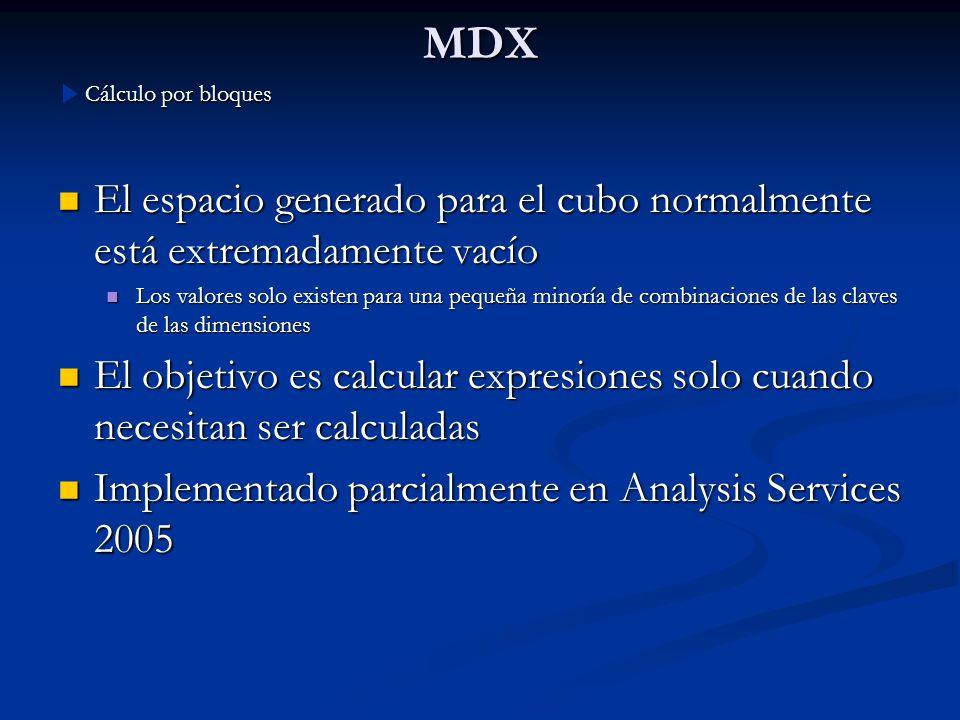 MDX Cálculo por bloques. El espacio generado para el cubo normalmente está extremadamente vacío.